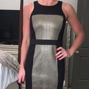Bailey 44:Fitted highneck alligator detailed dress